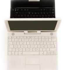 weißer und schwarzer Laptop