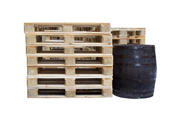 wooden barrel and pallets