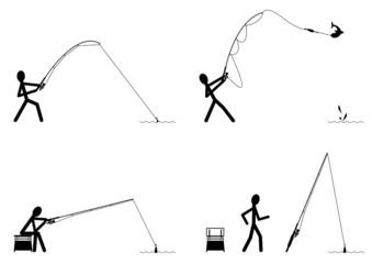 Positions du pêcheur - noir et blanc