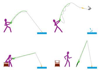 Positions du pêcheur - couleur