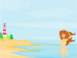 summer beach girl