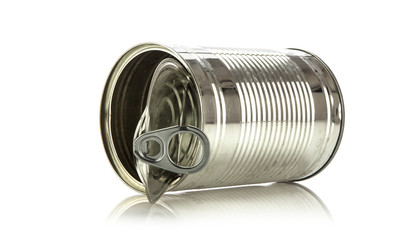 Single opened ring pull tin can on white background