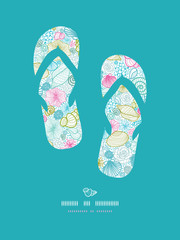 Vector seashells line art flip flops decor pattern frame
