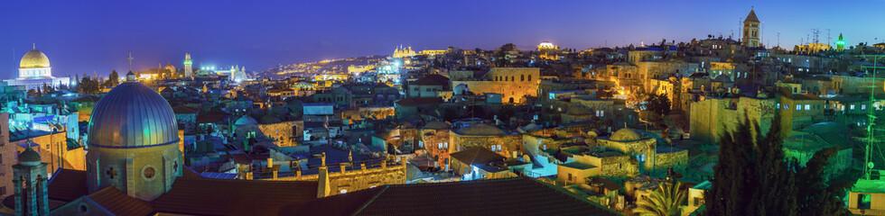 Printed roller blinds Gray traffic Panorama - Old City at Night, Jerusalem