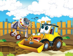 Printed roller blinds Cars The cartoon digger - illustration for the children