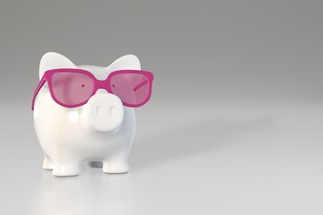 Piggy bank - pink glasses