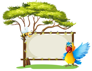 An empty framed banner with a parrot and a a bee