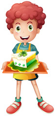 A young boy with a slice of cake