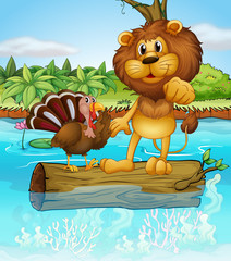 A turkey and a lion above a floating trunk