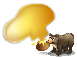 A bear and a pot of honey
