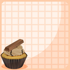 A stationery with a cupcake with chocolate toppings