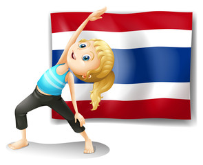 A girl with the flag of Thailand