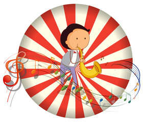 A boy playing with a musical instrument with musical notes