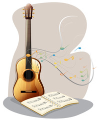 A guitar with a musical book