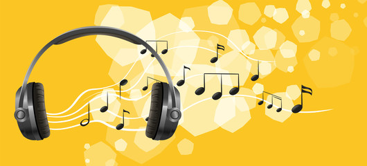 A headset and the musical notes