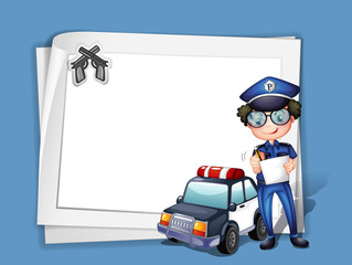 A blank stationery with a policeman