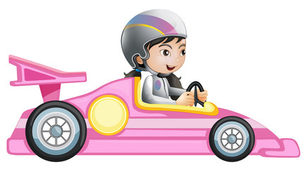 A girl riding in a pink racing car