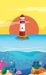 Poster Submarine A lighthouse in the middle of the sea