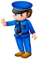 A police officer with a complete blue inform