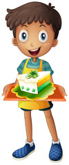 A boy holding a tray with a slice of cake