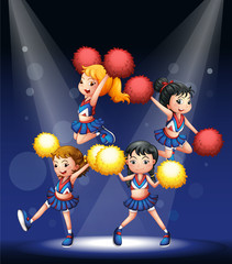 Cheerdancers performing at the stage