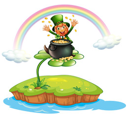 A man above a clover plant with a pot of coins