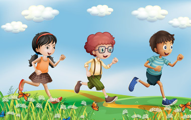 Kids running at the hills