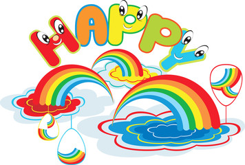 Happy rainbow with easter egss