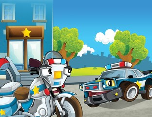 Printed roller blinds Cars The police car officers - illustration for the children