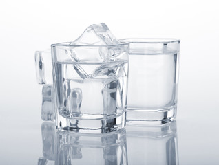 Vodka shots with ice cubes