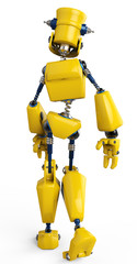 Spoed Foto op Canvas Robots yellow robot walking way