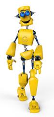 Spoed Foto op Canvas Robots yellow robot walking