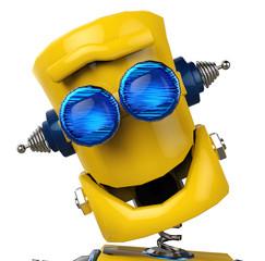 Spoed Foto op Canvas Robots yellow robotbig face