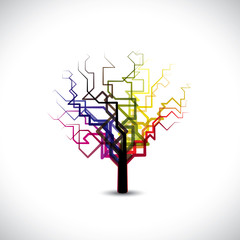Abstract,colorful graphic tree symbol in digital or binary style