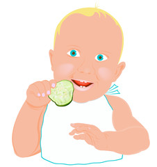 Child and fresh green young cucumber on a white background
