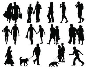 Set of walking people silhouette-vector