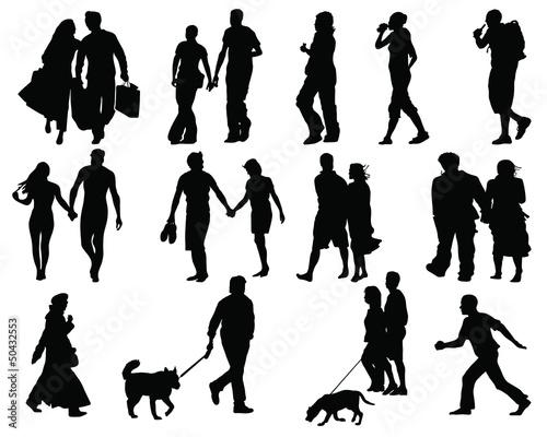 Set Of Walking People Silhouette Vector