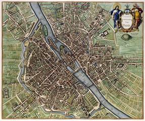 Wall Mural - Paris vintage map