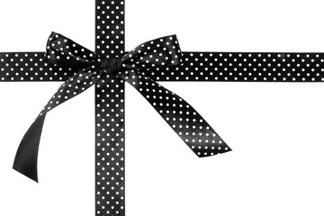 Black gift bow and ribbon on white background