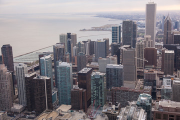 Chicago skyline from the hancock tower