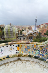 Views from the Parc Guell designed by  Gaudi in Barcelona