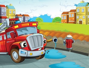Wall Murals Cars The red firetruck - duty - illustration for the children