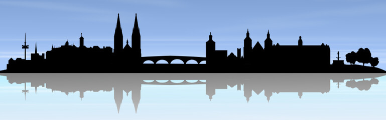 Wall Mural - Regensburg Skyline blauer Himmel