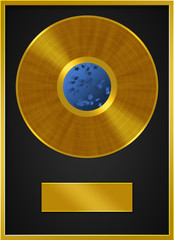 Golden Vinyl Record Label Frame