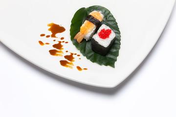 Sushi Nigiri and Hosomaki. Japanese Traditional Food