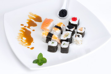 Sushi on a White Plate. Japan Traditional Food