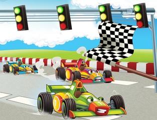Cadres-photo bureau Voitures enfants The formula race - super car - illustration for the children