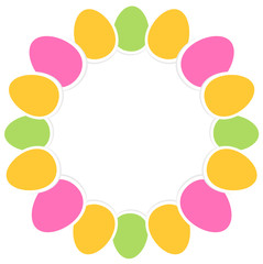 Colorful easter eggs in circle with copy space