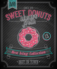 Wall Mural - Donuts Poster - Chalkboard. Vector illustration.