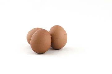 Three  eggs on white background.